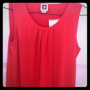 Anne Klein sleeveless blouse beautiful red NWT